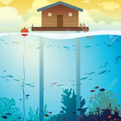 Coral farm - house on stilts and colorful coral reef with school of fish on a sea background. Vector environment illustration. Save the corals and underwater creatures.